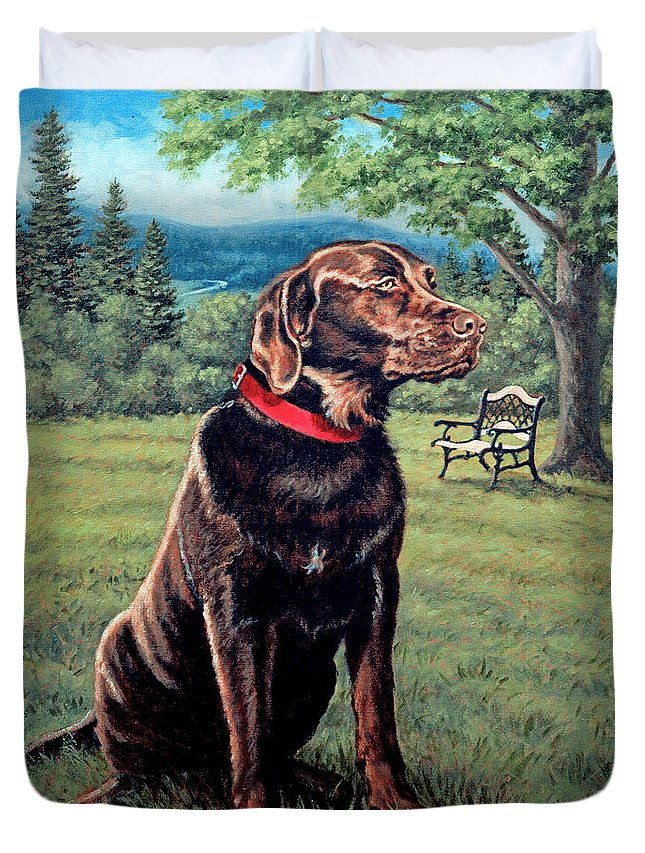 Chocolate Lab Duvet Cover featuring the painting Chocolate Lab by Richard De Wolfe
