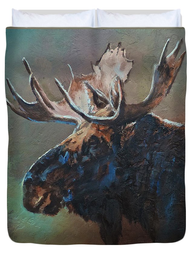 Moose Duvet Cover featuring the painting Chocolate by Mia DeLode