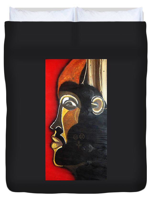Chokwe Duvet Cover featuring the painting Chokwe Mask by Carla J Lawson