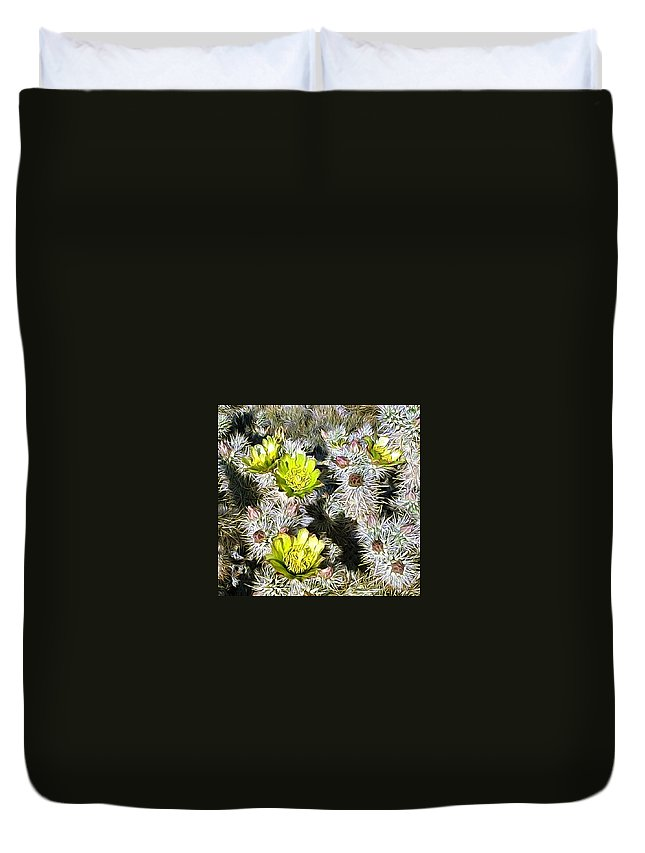 Cactus Duvet Cover featuring the digital art Cholla Flowers by Snake Jagger