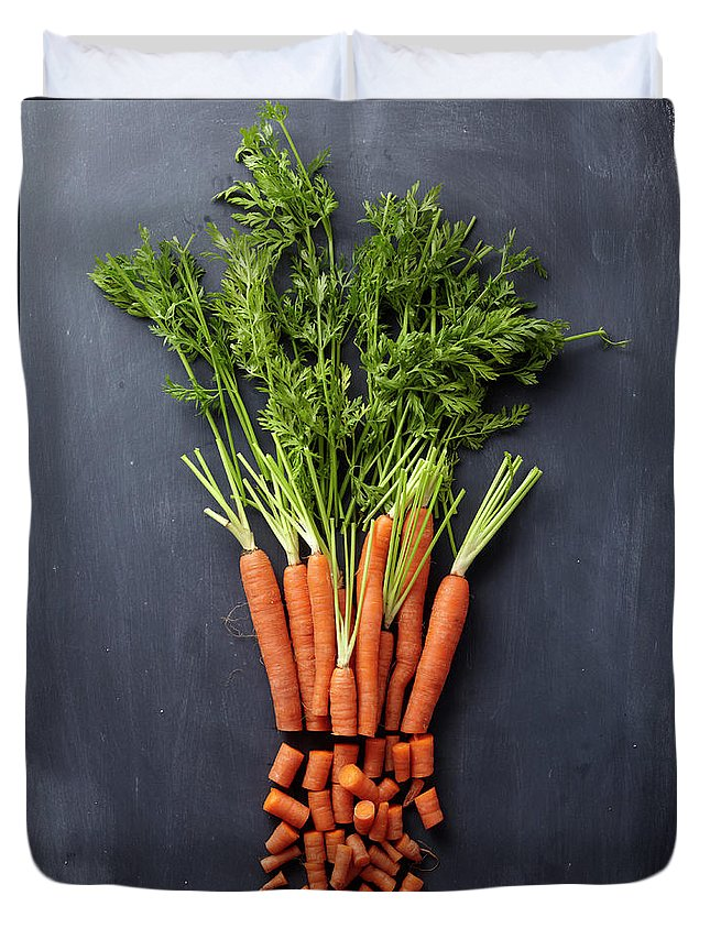 Orange Color Duvet Cover featuring the photograph Chopped Carrot Bunch by Shana Novak