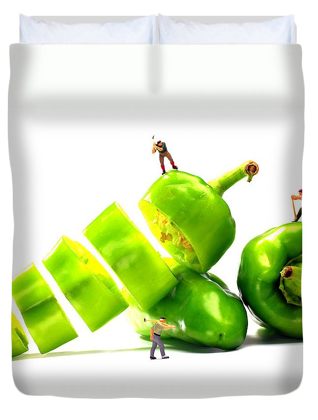Chef Duvet Cover featuring the photograph Chopping Green Peppers Little People Big Worlds by Paul Ge