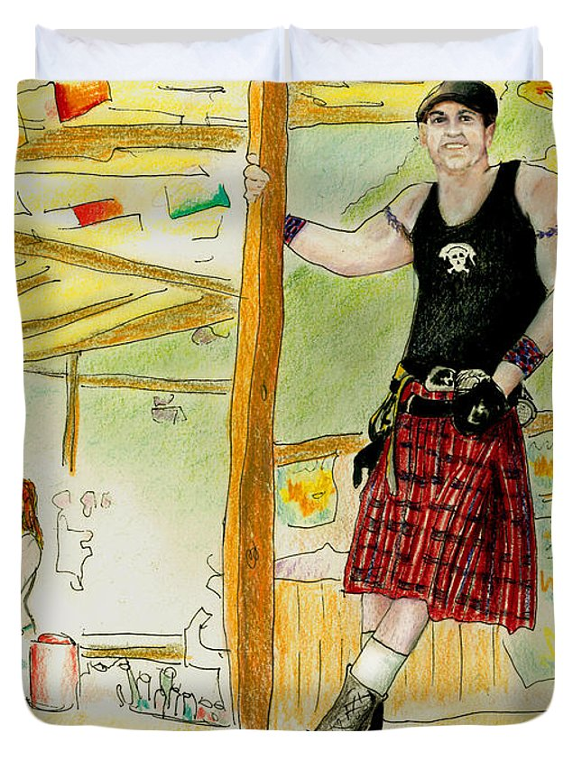 Kilt Duvet Cover featuring the painting Chris At The Broken Spoke Saloon by Albert Puskaric