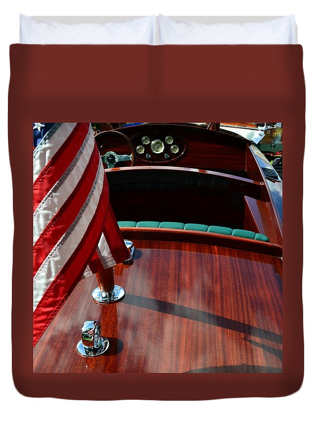 Classic Boat Duvet Cover featuring the photograph Chris Craft with Flag and Steering Wheel by Michelle Calkins