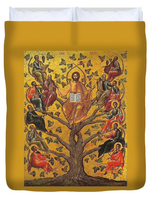 Religions; Son Of God Duvet Cover featuring the painting Christ And The Apostles by Unknown