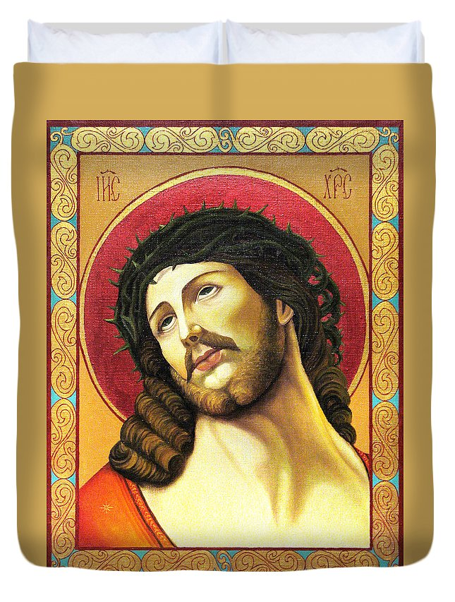 Christ Duvet Cover featuring the painting Christ Crowned With Thorns by Oksana Nabok