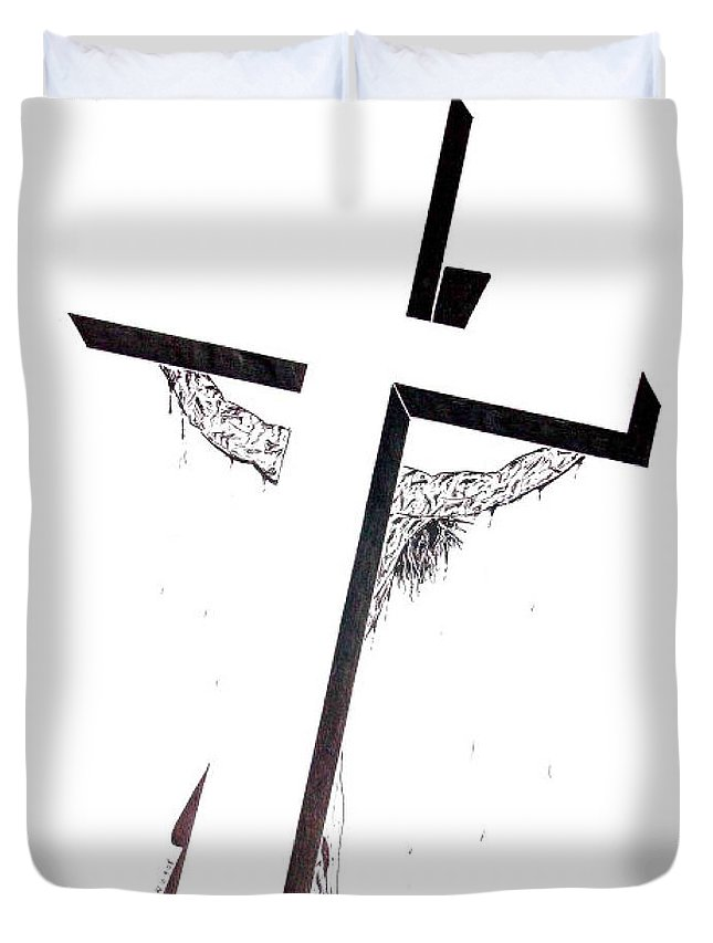 Christ Duvet Cover featuring the drawing Christ On Cross by Justin Moore