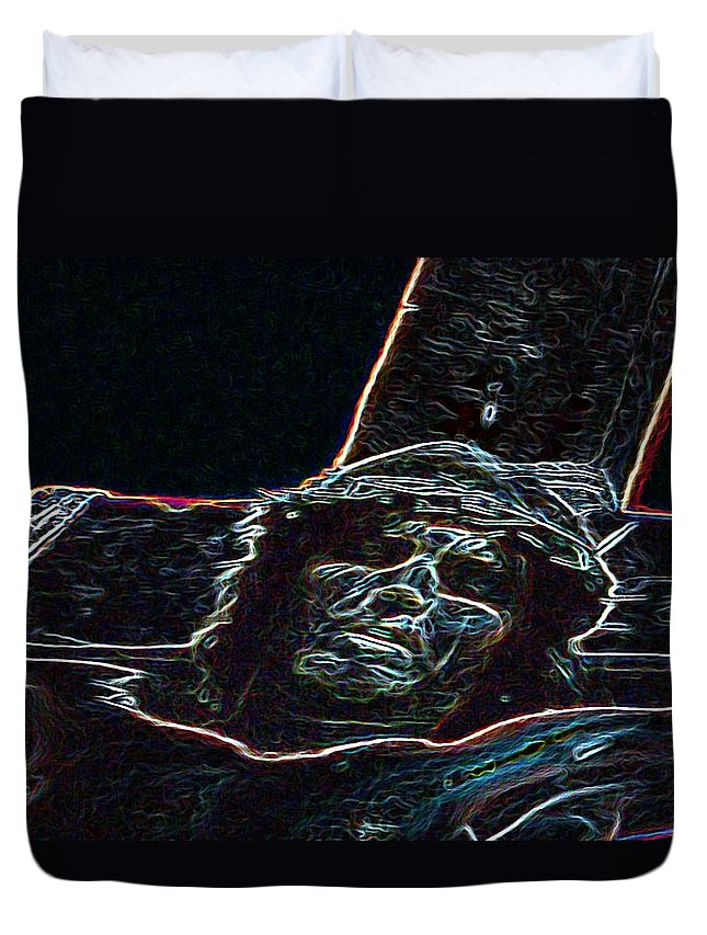 Christ Duvet Cover featuring the photograph Christ On The Cross by George Pedro
