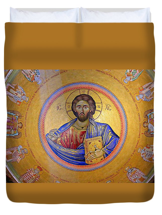 Christ Pantocrator Duvet Cover featuring the photograph Christ Pantocrator -- No.4 by Stephen Stookey