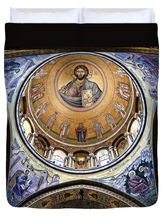 Christ Pantocrator Duvet Cover featuring the photograph Christ Pantocrator -- No.5 by Stephen Stookey