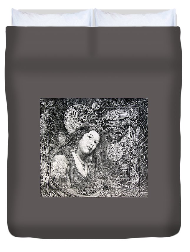 Portrait Duvet Cover featuring the drawing Christan Portrait by Otto Rapp