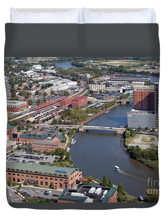 Aerial Duvet Cover featuring the photograph Christina River by Bill Cobb