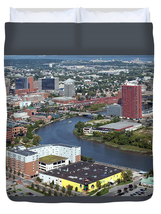 Aerial Duvet Cover featuring the photograph Christina Riverfront by Bill Cobb