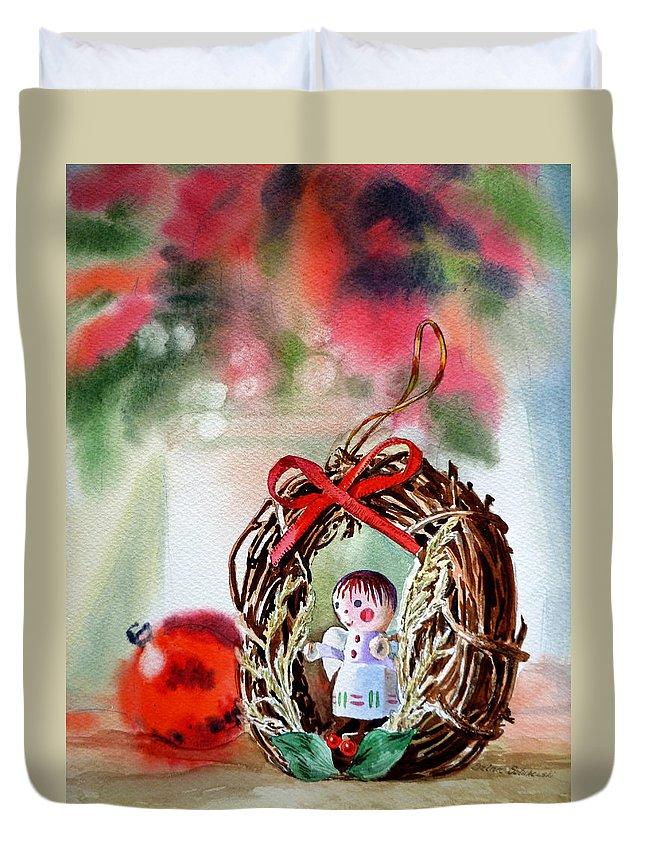Angel Duvet Cover featuring the painting Christmas Angel by Irina Sztukowski