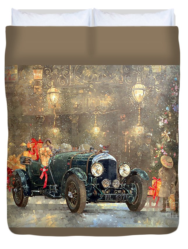 Motor Car Duvet Cover featuring the painting Christmas Bentley by Peter Miller