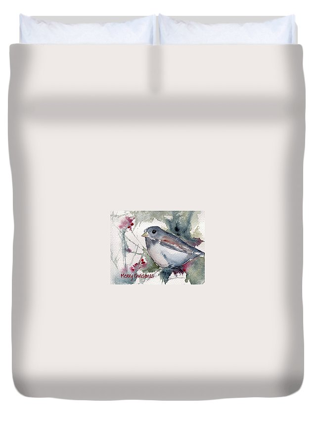 Christmas Duvet Cover featuring the painting Christmas Birds 01 by Anne Duke