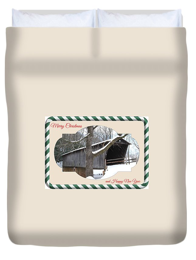 Bridge Duvet Cover featuring the mixed media Christmas Bridge by Eric Liller