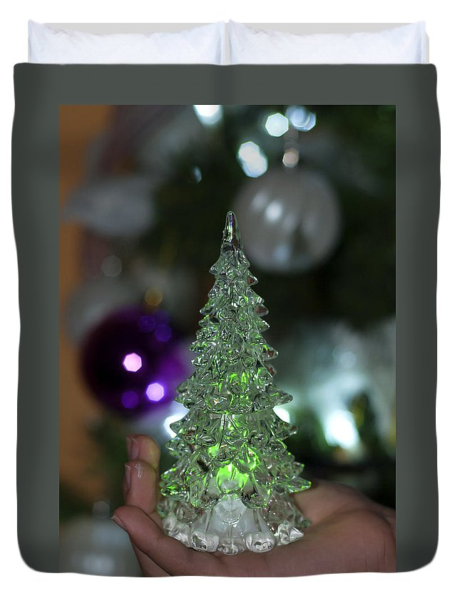 Abstract Duvet Cover featuring the photograph A Christmas Crystal Tree In Green by Pedro Cardona Llambias