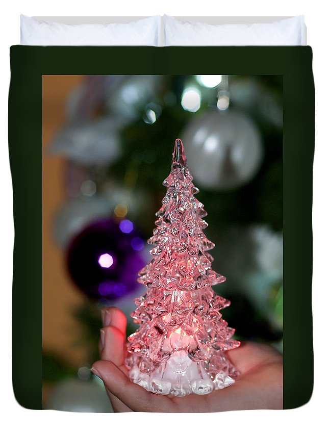 Abstract Duvet Cover featuring the photograph A Christmas Crystal Tree In Pink by Pedro Cardona Llambias