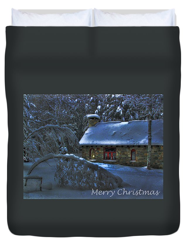 Christmas Card Moonlight On Stone House Duvet Cover featuring the photograph Christmas Card Moonlight On Stone House by Wayne King