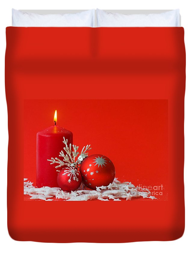 Backdrop Duvet Cover featuring the photograph Christmas Decoration Background by Michal Bednarek