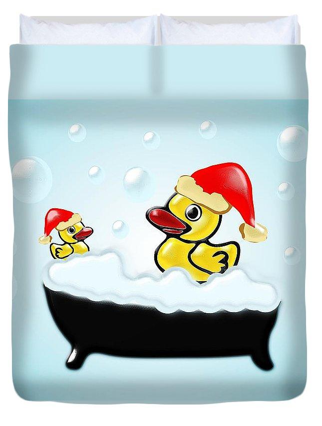 Interior Duvet Cover featuring the digital art Christmas Ducks by Anastasiya Malakhova