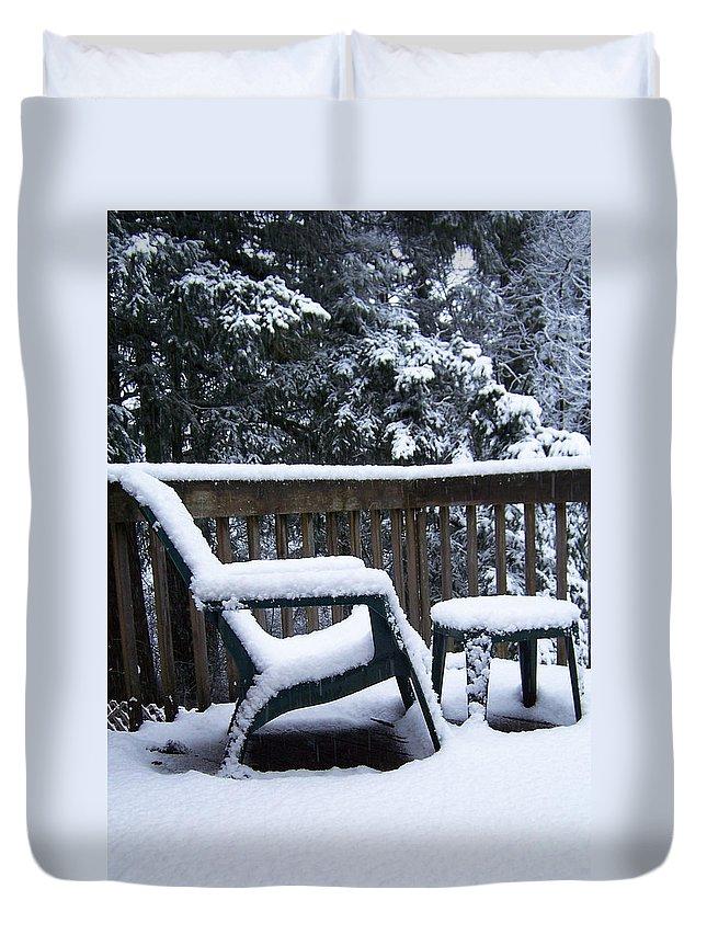 Snow Duvet Cover featuring the photograph Christmas Eve Deck Chair by Blythe Ayne