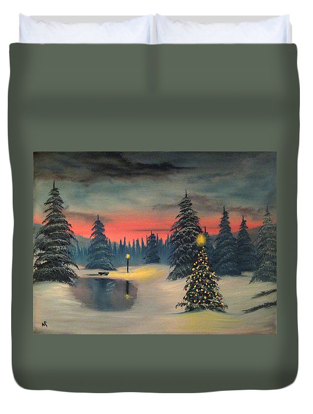 Christmas Duvet Cover featuring the painting Christmas Eve by Nick Robinson
