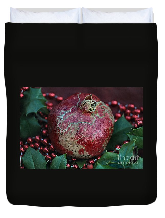 Pomegranate Duvet Cover featuring the photograph Christmas Fruit by Luv Photography