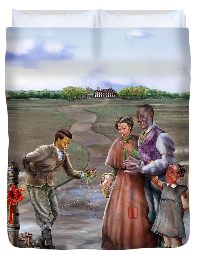 Antebellum Duvet Cover featuring the painting Christmas Gift - An Antebellum Christmas by Reggie Duffie