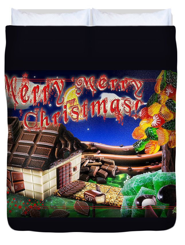 Home Duvet Cover featuring the digital art Christmas Greeting Card Iv by Alessandro Della Pietra