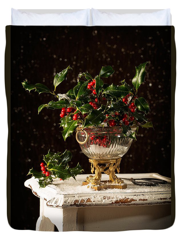 Holly Duvet Cover featuring the photograph Christmas Holly by Amanda Elwell