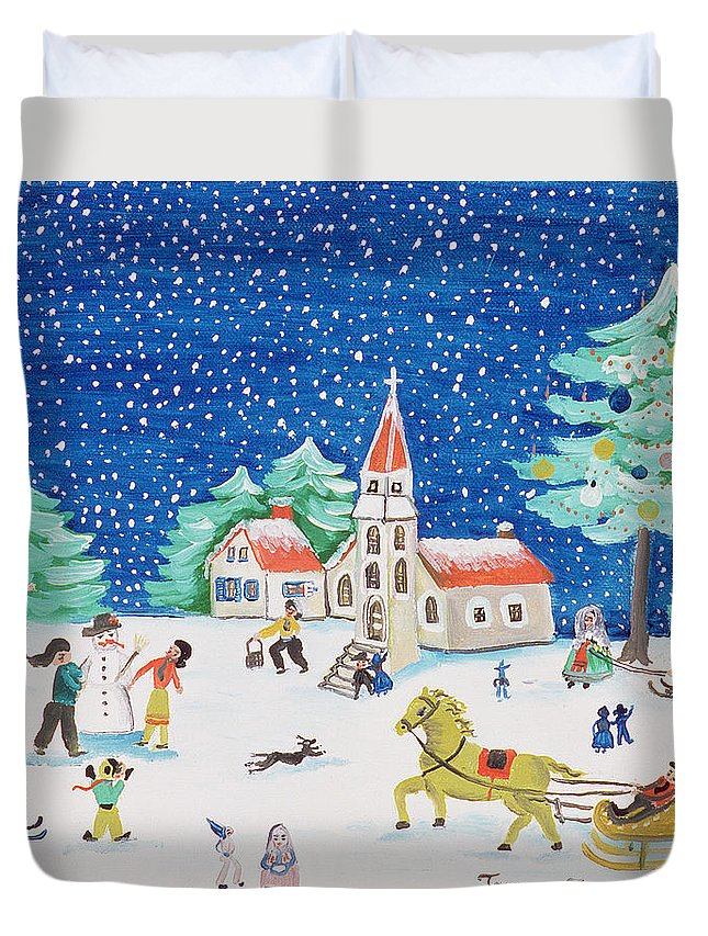 Landscape Duvet Cover featuring the painting Christmas Joy by Gordana Delosevic