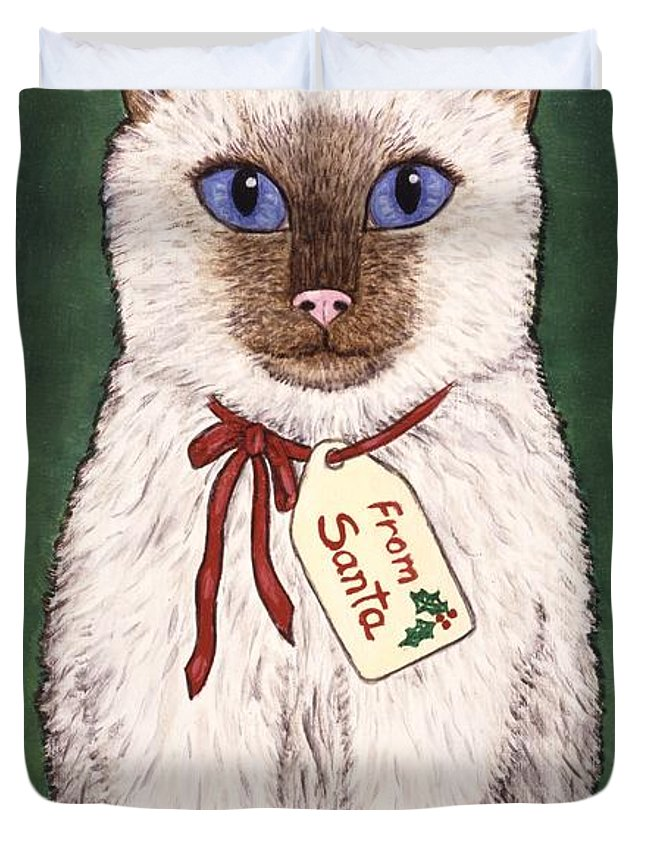 Kittens Duvet Cover featuring the painting Christmas Kitten by Linda Mears