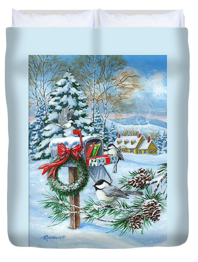 Mail Duvet Cover featuring the painting Christmas Mail by Richard De Wolfe