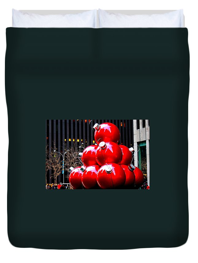Christmas New York Style - Chirstmas - New York - Holidays Duvet Cover featuring the photograph Christmas New York Style by Dora Sofia Caputo Photographic Design and Fine Art