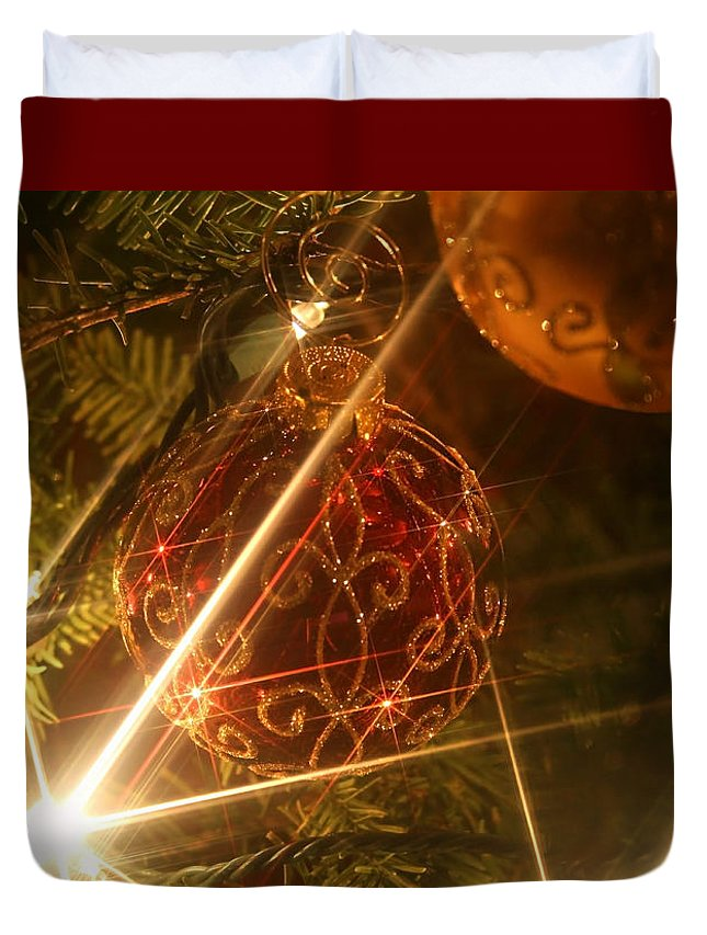 Christmas Ornaments Duvet Cover featuring the photograph Christmas Ornaments 1 by Ellen Henneke