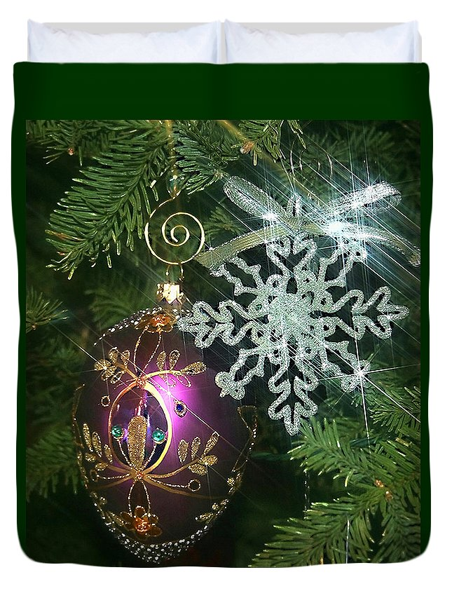 Christmas Ornaments Duvet Cover featuring the photograph Christmas Ornaments 2 by Ellen Henneke