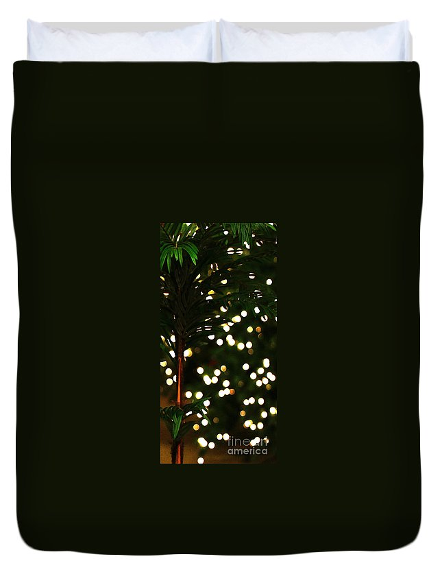 Christmas Duvet Cover featuring the photograph Christmas Palm by Linda Shafer