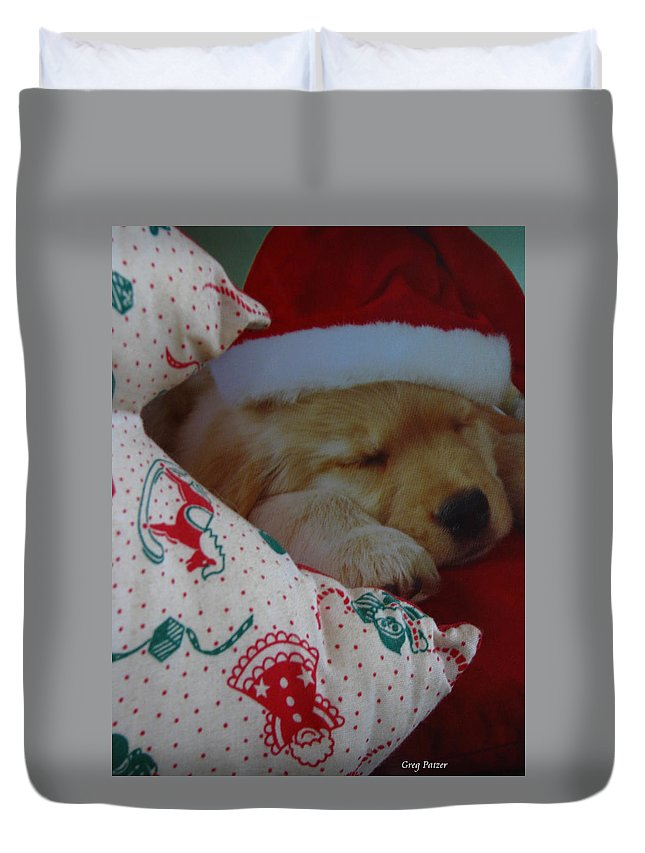 Patzer Duvet Cover featuring the photograph Christmas Pup by Greg Patzer