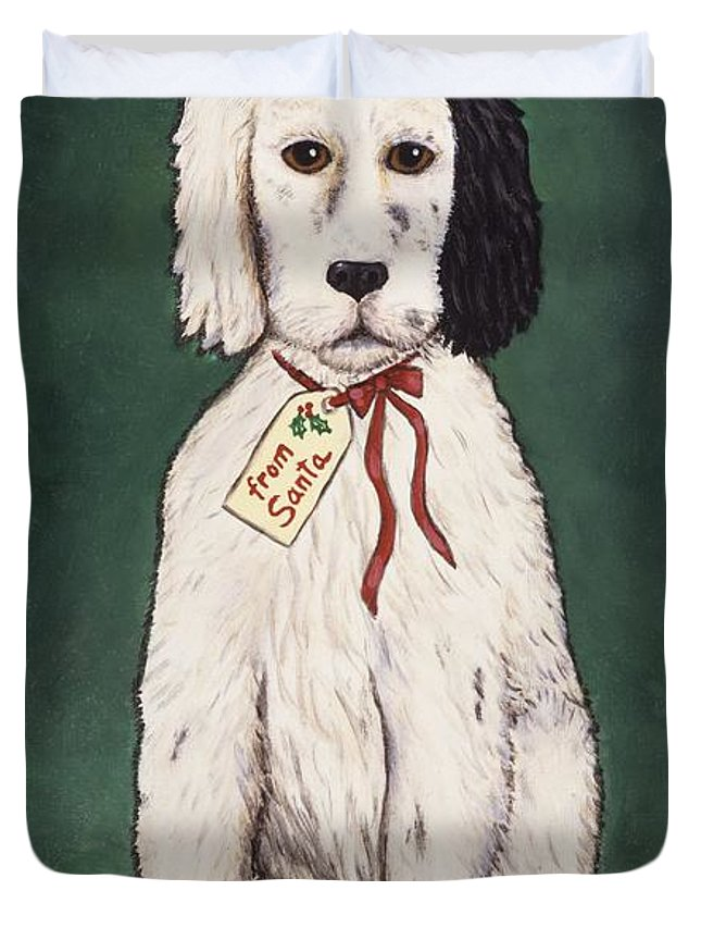 Folk Art Christmas Duvet Cover featuring the painting Christmas Puppy by Linda Mears