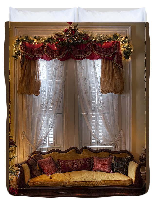 Inside; Indoors; Interior; Sofa; Christmas; Garland; Window; Curtains; Drapes; Wood; Rug; Victorian; Decorations; Ornaments; Lights; Seasonal; Season; Holiday; Plush; Valance Duvet Cover featuring the photograph Christmas Setting by Margie Hurwich