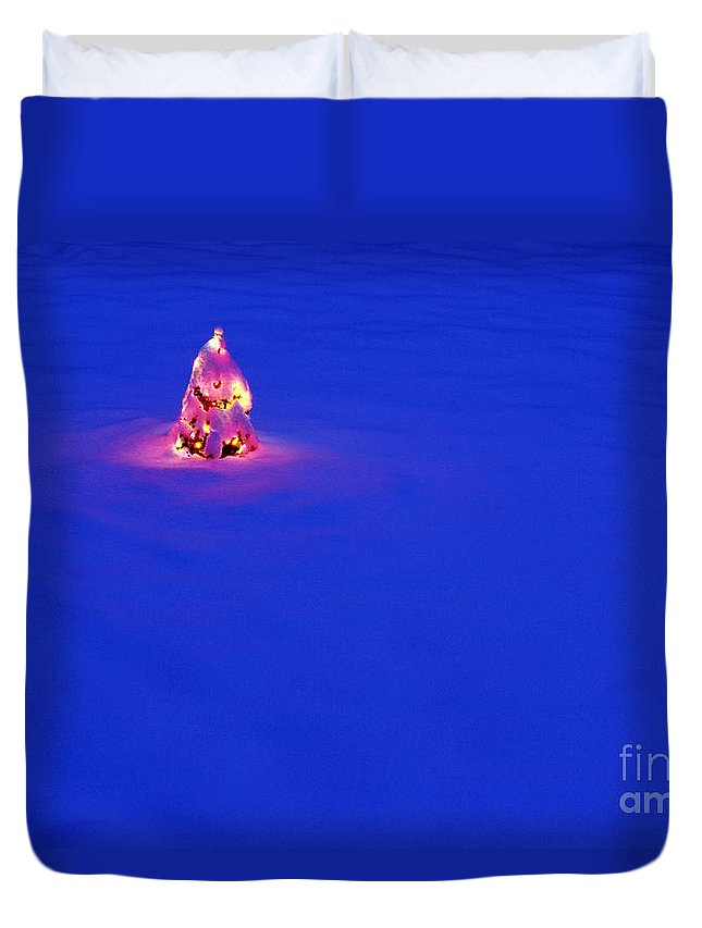 Snow Duvet Cover featuring the photograph Christmas Tree Covered In Snow by Jim Corwin