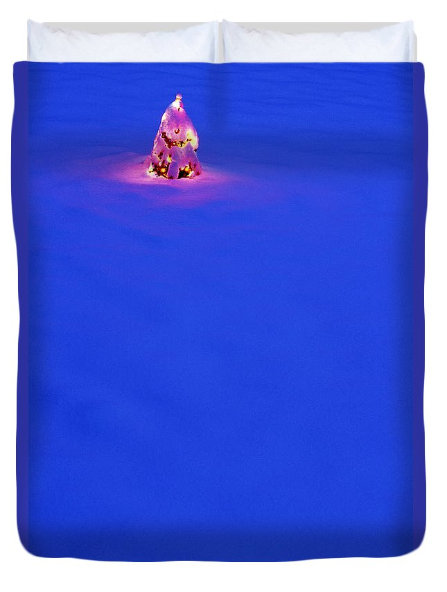 Snow Duvet Cover featuring the photograph Christmas Tree Covered In Snow.tif by Jim Corwin