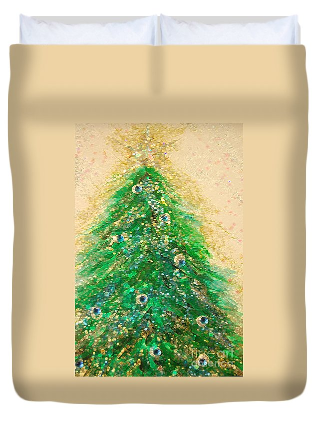 Duvet Cover featuring the painting Christmas Tree Gold By Jrr by First Star Art