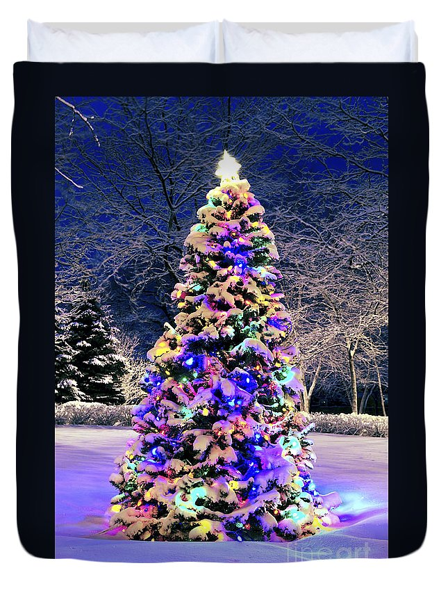 Christmas Duvet Cover featuring the photograph Christmas Tree In Snow by Elena Elisseeva