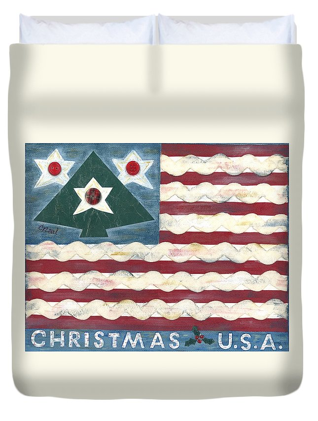 Christmas Duvet Cover featuring the mixed media Christmas U.s.a. by Carol Neal