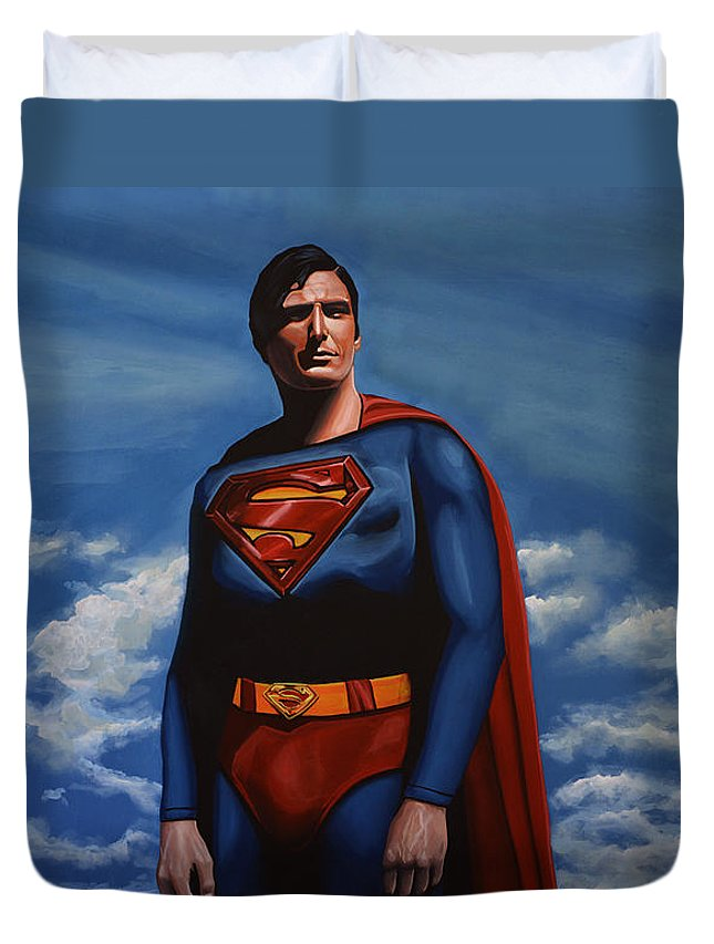 Superman Duvet Cover featuring the painting Christopher Reeve As Superman by Paul Meijering