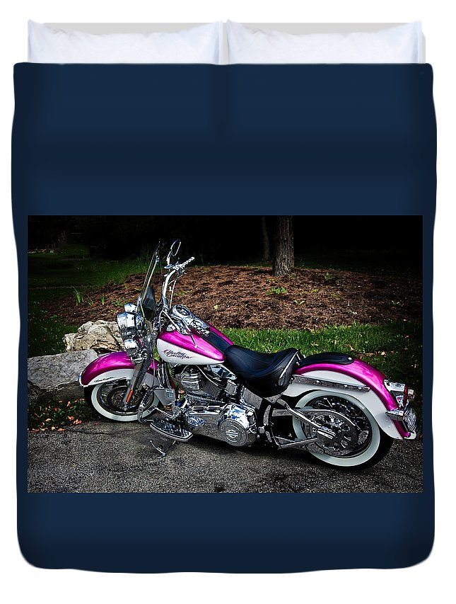 Harley Davidson Duvet Cover featuring the photograph Chrome Galore by Jim Markiewicz
