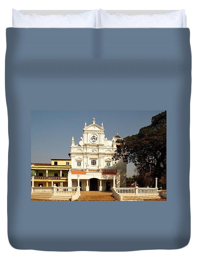 Church Duvet Cover featuring the digital art Church At Colva by Carol Ailles